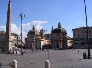 730-1766 - Roma - Piazza del Popolo - twins S. Maria in Montesanto & S. Maria dei Miracoli